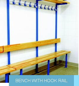 Bench with hook rail
